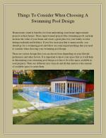 Things To Consider When Choosing A Swimming Pool Design