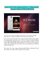 Lenovo K5 Note Expected Price – Fingerprint Scanner Phone With 4GB RAM