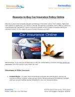Reasons to Buy Car Insurance Policy Online