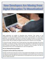 How Developers Are Moving From Digital Disruption To Monetization?