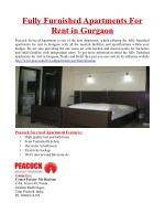 Fully Furnished Apartments For Rent in Gurgaon