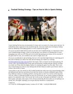 Football Betting Strategy - Tips on How to Win In Sports Betting