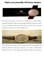 Explore your personality with parker watches
