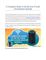 A Complete Guide to Set Up Your D-Link Cloud Router Quickly