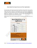 Sheet Metal Forming Process and Their Application