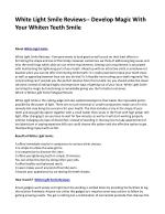 White Light Smile Reviews-- Develop Magic With Your Whiten Teeth Smile