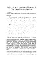 Lets Have a Look on Discount Clothing Stores Online