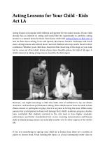 Acting Lessons for Your Child - Kids Act LA