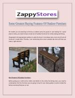 Various Greatest Buying Features Of Outdoor Furniture