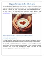 3 Signs of a Great Coffee Wholesaler