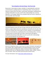 Rajasthan Tour India Packages