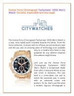 Invicta Force Chronograph Tachymeter 14956 Men's Watch: Forceful, impeccable and very tough
