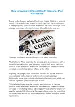 How to Evaluate Different Health Insurance Plan Alternatives.