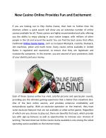 New Casino Online Provides Fun and Excitement