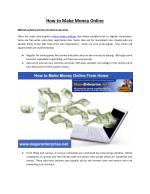 Home Based Work to Make Money Online