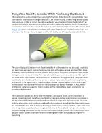 Basic Facts About Badminton