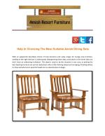 Help In Choosing The Most Suitable Amish Dining Sets