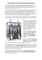 Oil Packaging A Fast Flowing, Hi Potential Industry