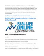Real Life Online Entrepreneur review in detail – Real Life Online Entrepreneur Massive bonus