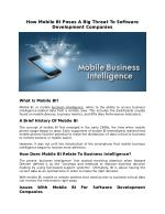 How Mobile BI Poses A Big Threat To Software Development Companies