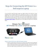 Steps for Connecting the HP Printer to a Dell Inspiron Laptop
