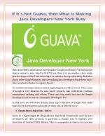 If It's not Guava, then What Is Making Java Developers New York Busy