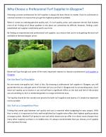 Why Choose a Professional Turf Supplier in Glasgow?