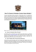 How To Choose A Reliable Custom Home Builder?