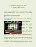 Mobile games: fast-growing sector of online gambling industry