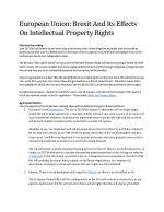 European Union: Brexit And Its Effects On Intellectual Property Rights