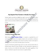 Buy Exquisite Wood Furniture to Beautify Your Home
