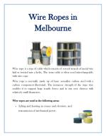Wire Rope Melbourne