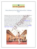 Fitness Mantra for Your Mind, Body and Soul – Ashtanga Yoga!