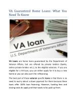 VA Guaranteed Home Loans: What You Need To Know