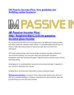 IM Passive Income Plus review and (SECRET) $13600 bonus