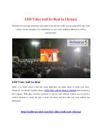 LED Video wall for Rent in Chennai