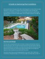 A Guide to Swimming Pool Installation