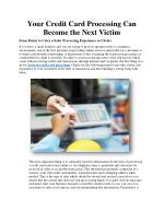 Your Credit Card Processing Can Become the Next Victim