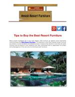 Tips to Buy the Best Resort Furniture