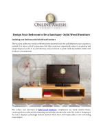 Design Your Bedroom to Be a Sanctuary -Solid Wood Furniture