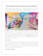 HOW GRAPHIC DESIGN IS IMPORTANT TO YOUR BUSINESS