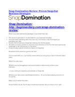 Snap Domination Review-$9700 Bonus & 80% Discount