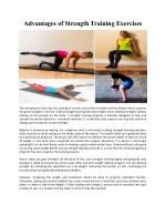 Advantages of Strength Training Exercises