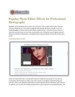 Popular Photo Editor Effects for Professional Photography