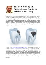 The Best Ways by Dr. George Hanna Dentist to Prevent Tooth Decay