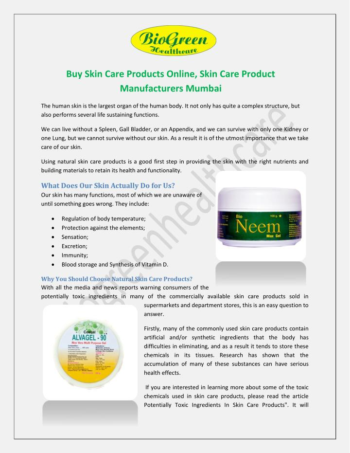 PPT - Buy Skin Care Products Online, Skin Care Product Manufacturers