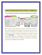 Housewares & Home Decoratives Suppliers in India