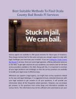 Best Suitable Methods To Find Ocala County Bail Bonds Fl Services