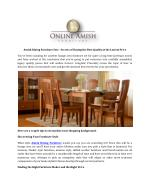 Amish Dining Furniture Sets - Secrets of Buying the Best Quality at the Lowest Price