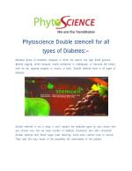 Phytoscience Double Stem Cell product for Diabetes